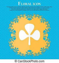 Clover icon. Floral flat design on a blue abstract background with place for your text. Vector