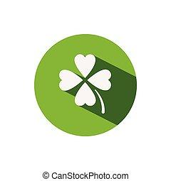 Clover. Icon on a green circle. Spring vector illustration
