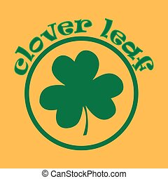 Clover icon on an orange background. Vector illustration