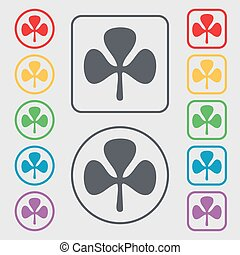 Clover icon sign. symbol on the Round and square buttons with frame. Vector