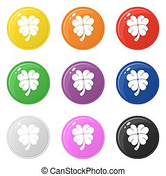 Clover icons set 9 colors isolated on white. Collection of glossy round colorful buttons. Vector illustration for any design.