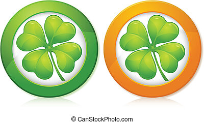 Clover in round - Four leaf clover in round isolated on...