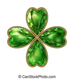 Clover.. Jewelry. Bijou. Vector on white background. St. Patrick's Day