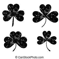 Clover leaf icon black on white