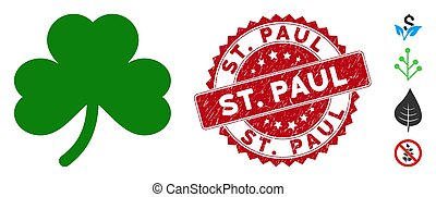 Clover Leaf Icon with Distress St. Paul Stamp