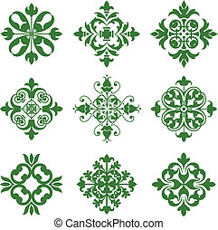 Clover Leaf Icons - A series of symmetrical leafy design...