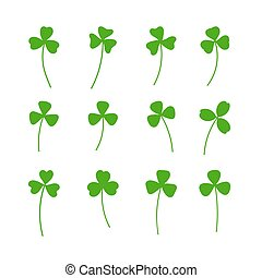 Clover leaf plant icon set. Symbol for St. Patricks Day and luck. Vector illustration isolated