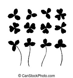 Clover leaf silhouette drawing. Symbol for St. Patricks Day and luck. Vector illustration isolated