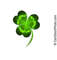 clover leaf - single clover leaf over white background