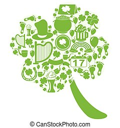 clover leaf with st patrick icons