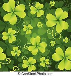 Clover Leaves Seamless Pattern, St. Patrick's Day Green Background. Shamrock Wallpaper