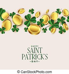 clover leaves with golden coins st patricks background