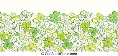 Clover line art horizontal seamless pattern background border