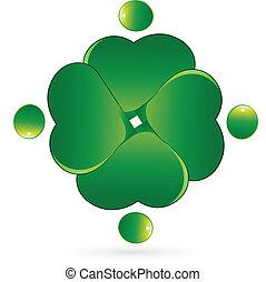 Clover people hearts vector logo