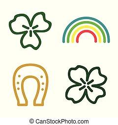 Clover, rainbow and horseshoe