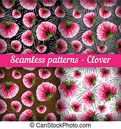 Clover. Set of seamless patterns. Vector set.