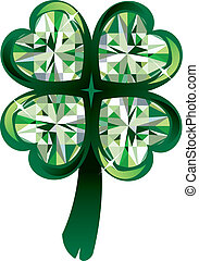 Clover Shamrock - Vector Illustration of diamond four leaf...