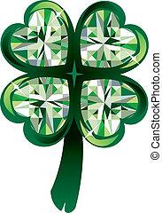 Vector Illustration of diamond four leaf clover shamrock. St. Patrick's Day.