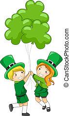 clover-shaped, ילדים, בלונים, להחזיק