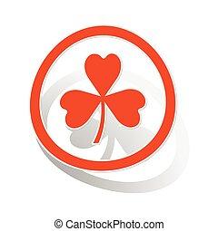 Clover sign sticker, orange
