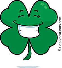 A cartoon four leaf clover happy and smiling.