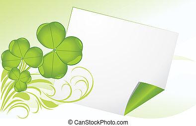 clover., spandoek, pagina, gekrulde