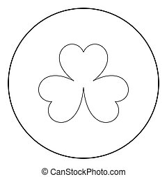 Clover the black color icon in circle or round