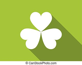Clover with a long shadow on green background. Vector illustration