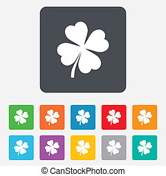 Clover with four leaves sign icon. Saint Patrick symbol. Rounded squares 11 buttons. Vector