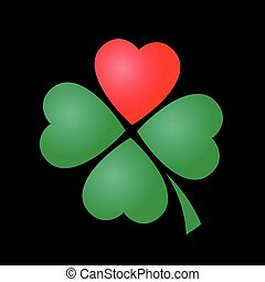 Cloverleaf - four leaved with one red heart. Illustration on black background.