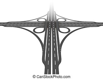 Cloverleaf interchange - aerial perspective - two level, four way interchange with collector/distributor roads, loop ramps, underpass and overpass. Detailed vector illustration on white background.