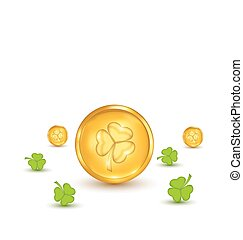 Clovers and coins with shadows on white background for St. Patrick's Day