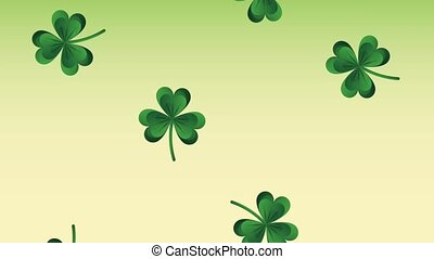 Clovers falling st patricks day HD animation - Clovers...