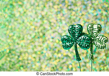 clovers, patricks, zielony, święty, błyszczący, dzień
