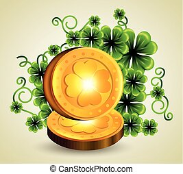 clovers plants with gold coins to st patrick event
