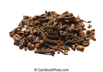 Cloves seeds on white background