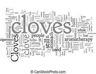Cloves text background wordcloud concept
