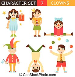 Clown 1 April Joke Fun Boys Girls Characters Icon Set Symbol  Accessories Stylish Isolated Flat Design Concept Template Vector Illustration