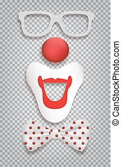 Clown accessories isolated on transparent background. Vector clown glasses, nose, mouth and bow tie polka dot.