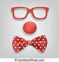 Clown accessories isolated on gray background. Vector clown glasses, nose and bow tie polka dot.