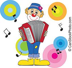 clown, accordion., spielende