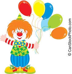 clown and balloons - funny red circus clown holding color ...