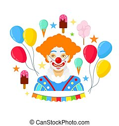 Clown and colorful baloons - Clown and colorful balloons on...