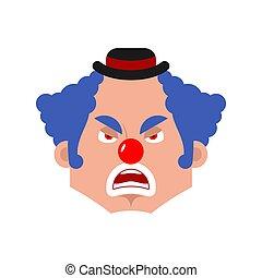 Clown angry emotion avatar. funnyman evil emoji. harlequin face. Vector illustration