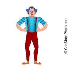 Clown angry. funnyman evil. harlequin Vector illustration