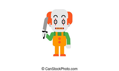 Clown angry stomping and clenching teeth. Halloween...