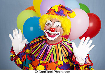 clown, anniversaire, surprise, -