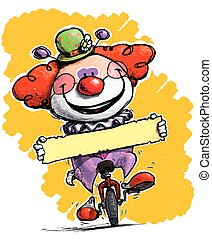 clown, auf, unicycle, besitz, a, etikett