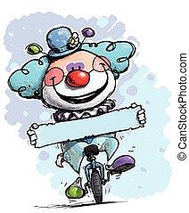 clown, auf, unicycle, besitz, a, etikett, -, junge, farben