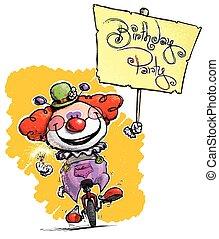 clown, auf, unicycle, besitz, a, geburtstagparty, plakat
